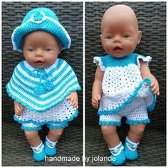Baby Born handmade by Jolande. Doll Clothes Barbie, Crochet Doll Clothes, Knitted Dolls, Doll Clothes Patterns, Crochet Dolls, Doll Patterns, Clothing Patterns, American Girl Outfits, Girl Dolls