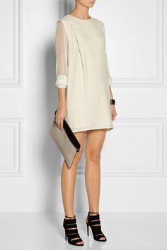 Thakoon Addition|Silk chiffon-sleeved cotton dress|NET-A-PORTER.COM