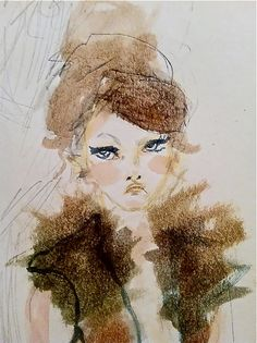 25% off with coupon code: coupon code:5522123   Fur Collar Attitude 5x7 Watercolor Girl by blondelasagna on Etsy, $25.00