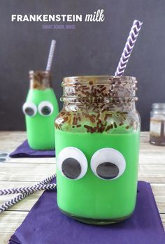 Frankenstein Milk. An easy DIY Halloween treat.