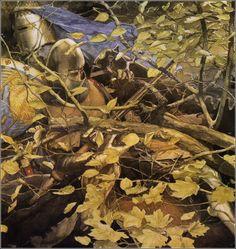 """ Alan Lee ~ from Gereint, Son of Erbin ~ The Mabinogion ~ Medieval Welsh Tales translated by Gwyn Jones and Thomas Jones ~ Dragon's Dream ~ 1982 "" Alan Lee, High Fantasy, Fantasy Art, Walt Disney, Thomas Jones, John Howe, Green Knight, Fantasy Paintings, Leaf Art"