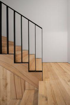 The Alegria Residential Building Staircase Railing Design, Modern Stair Railing, Staircase Handrail, Home Stairs Design, Modern Stairs, Interior Stairs, Spiral Staircases, Contemporary Stairs, Contemporary Apartment
