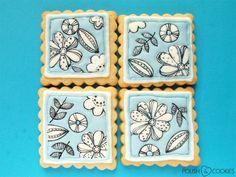 Flower Cookies inspired by a mug - Tutorial ! Polish Cookies, Paint Cookies, Nail Polish Art, Flower Cookies, Zentangles, My Nails, Tea Cups, Doodles, Mugs