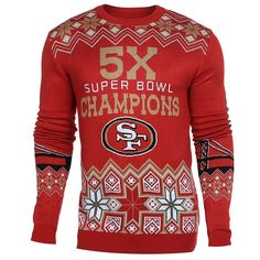 Perfect for any San Francisco 49ers fan, this is an Officially Licensed San Francisco 49ers Super Bowl Commemorative Knit Crew Neck Sweater! - Extremely Soft! - Officially Licensed. - Uglyteams sweate