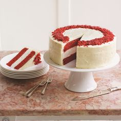 This is a creative twist on the popular red velvet cake, combining the best of both worlds, cake and cheesecake. This red velvet cheesecake is a wonderful showstopper to serve to your friends and family. This recipe was developed by Eric Lanlard and features in his Afternoon Tea recipe book.