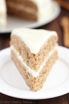 Spiced Hummus Cake with Vanilla Yogurt Frosting -- a healthy recipe with a sweet tahini flair! Everybody raved about this cake!