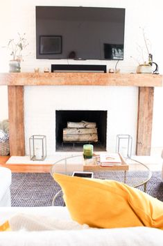 Get ready for some amazing home inspiration! Filled with collected treasures, old and new pieces and unexpected details. My friends, Lydia and Charlie, have nailed it. Reclaimed Wood Fireplace, Wood Fireplace Mantel, Brick Fireplace Makeover, Home Fireplace, Living Room With Fireplace, Fireplace Design, Living Room Decor, Fireplace Ideas, Farmhouse Fireplace