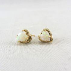 Vintage 14K Gold Opal Heart Earrings October by zestfulvintage