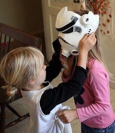 Got milk cartons? Create this DIY Storm Trooper Mask for Halloween!