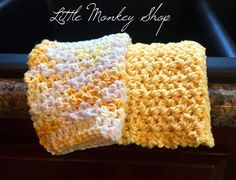 Little Monkey Shop : Free Dishcloth Pattern - Celebrating National Crochet Month Crochet Cozy, Crochet Gifts, Diy Crochet, Easy Crochet Patterns, Crochet Stitches, Crocheting Patterns, Knitting Patterns, Crochet Dishcloths, Chrochet