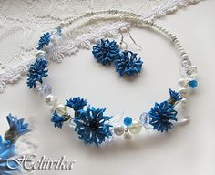 Polymer clay cornflower necklace and earrings
