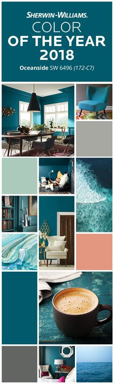 Everything looks better by the deep, blue sea. Gentle, powerful, soothing, this hue brings calmness, peace and an undeniable desire to relax and have fun. Want that same vibe in your house? Dive into our Color of the Year 2018, Oceanside SW 6496. Then pair it with hues like Gray Matters SW 7066, Aloe SW 6464, Sockeye SW 6619 and Grizzle Gray SW 7068 to create a colorful getaway you don't have to leave home for.