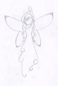 Drawing Doodle Easy Fairy by angelkittin on deviantART Will go on my right shoulder so I will always have an angel watching over me - Doodle Art, Doodle Drawings, Cute Drawings, Drawing Sketches, Pencil Drawings, Sketching, Pretty Easy Drawings, Drawing Tips, Fairy Drawings