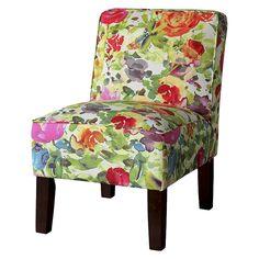 Burke Slipper Chair - Bright Multicolored Floral