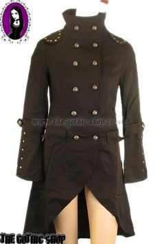 Black Fishtail Gothic Corset Coat with Lacing at Back
