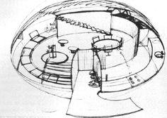 Perspectiva interior, Casa prefabricada, Tequesquitengo, Estado de Morelos, México 1963 Arq. Juan José Díaz Infante - Interior perspective, Prefabricated house, Tequesquitengo, Morelos, Mexico 1963