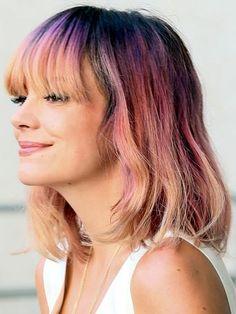 Lily Allen rocks the #rainbowhair look! #chillhair #LilyAllen #celebhair #pastelhair