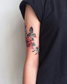 Colored Rose Flower Arm Tattoo - From Amanda Wachob