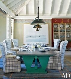 In a Florida home, the pizza room (the dedicated oven is out of view) has a zinc-top table and slipcovered high-back armchairs, all by designer John Stefanidis; 19th-century paraffin lamps that have been electrified hang from the ceiling, and the painted Vitruvian scroll border echoes the palette of the killim | archdigest.com