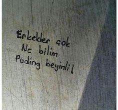 Erkekler ne bileyim çok puding beyinli Duvardan yazılar