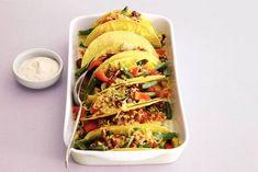 Mexicaanse groente in taco's - Recept - Allerhande Mexican Food Recipes, Ethnic Recipes, Tacos, Vegetarian, Baking, Mexico, Patisserie, Backen, Mexican Recipes