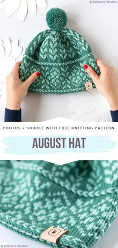 Comfy Knitted Hats Free Patterns August Hat Free Knitting Pattern Always wanted to learn how to knit, however unsure the place to begin? Baby Hats Knitting, Free Knitting, Free Crochet, Knitted Hats, Knit Crochet, Knitted Dolls, Loom Knitting Patterns, Knitting Projects, Crochet Patterns