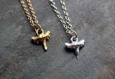 Shark Tooth Necklace, Dainty Charm Necklace 14k by SketchLines