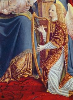 Madonna and Child with Angel Musicians, detail of Angel Musician Playing the Harp, c.1490-1500 (tempera on panel)