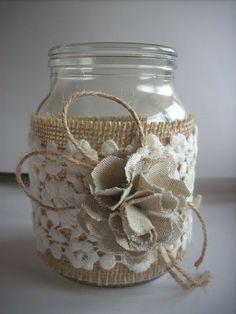 Tarro de arpillera de boda rústica por foryourrusticwedding en Etsy
