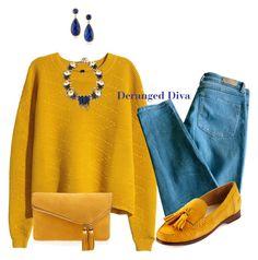 """Mustard by Deranged Diva"" by derangeddiva on Polyvore featuring H&M, Sandro, Cole Haan, DANNIJO, Henri Bendel and Karen Kane"