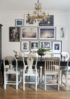Dining room chairs, art wall