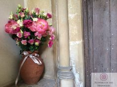 Pink Peonies and Lisianthus Church Arrangement - Somerset Wedding - Terracotta - Coral - Flowers by Flowers of the Hesperides Pink Peonies, Terracotta, Summer Wedding, Wedding Flowers, Vase, Somerset, Coral, Home Decor, Decoration Home