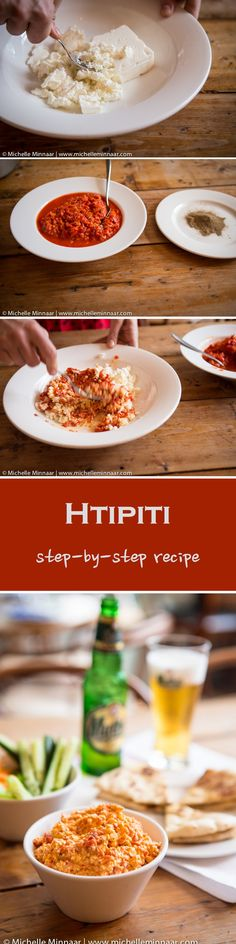 Htipiti is a roasted red pepper and feta dip, which is a classic Greek dish, served as a starter. Try it!