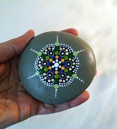 Purple & Green Mandala Painted Beach Stone ~ Pebble ~Rocks ~by Miranda Pitrone by P4MirandaPitrone on Etsy