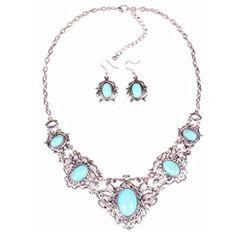 Hollow Tibetan Sliver Green Rimous Oval Turquoise Bib Collar Drop & Dangle Earrings Necklace Jewelry Set Women