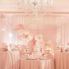 Wedding Desserts- mini cakes, cupcakes, bows, flowers, blush, cake fantasy, beautiful presentation www.aboutdetailsdetails.com
