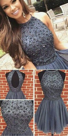 New Arrival gray Prom Dresses Sexy Open Back grey sweet 16 gowns grey Short Homecoming Dress with pearls from DestinyDress Sexy Prom Dress Grey Prom Dress Short Prom Dress Prom Dress Homecoming Dresses Homecoming Dresses 2019 Grey Prom Dress, Hoco Dresses, Tulle Prom Dress, Sexy Party Dress, Dance Dresses, Pretty Dresses, Sexy Dresses, Beautiful Dresses, Dress Formal