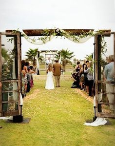 I love the simple arch with old screen doors :) / wedding ideas – Juxtapost  | followpics.co
