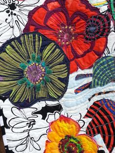 Detail of Freddy Moran's collage-style of quilting