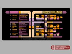 Here's the finished version of my LCARS holodeck display. I just changed the Dixon Hill program to my own. Enjoy Dietrich Copyright by Paramount/CBS/Viagracom
