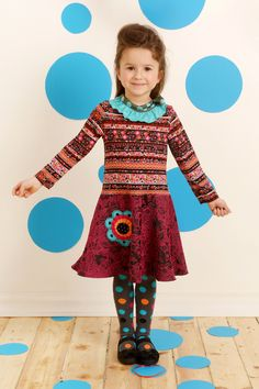 aw14: Touches of sky cool down Zaza Couture's warm tones and mix of patterns. www.zazacouture.com