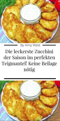 The most delicious zucchini of the season in the perfect batter! No insert needed - These wonderful zucchini slices are the hit of this year& summer season: delicious garlic fla - Diet Recipes, Chicken Recipes, Vegan Recipes, Good Foods To Eat, Food Humor, Southern Recipes, Vegetable Recipes, Finger Foods, Food Videos