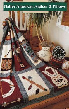 Native American Afghan & Pillows, Annie's Attic Indian Blanket Crochet Pattern Club Booklet 8B017 RARE