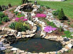 A Beautiful pond for a dream backyard add a weeping willow tree and some other trees with a  hammock with stepping stones and nice relaxing backyard decor to make your own personal relaxation spot to go to whenever you want - Written by Turtle