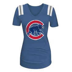 Chicago Cubs Woman's Football V-Neck Tee  #ChicagoCubs #Cubs #FlyTheW SportsWorldChicago.com