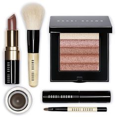 Bobbi Brown Bobbi's Essentials Party Edition (£55) ❤ liked on Polyvore featuring beauty products, makeup, beauty, fillers, cosmetics, accessories, none, blending brush, lips makeup and long wear gel eyeliner