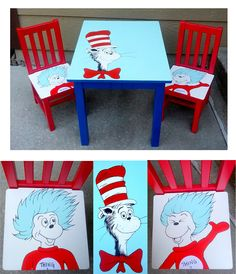 Dr. Seuss hand painted kids table furniture. Cat in the Hat, Thing 1, and Thing 2.