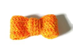Yellow Bow Hand Crocheted Ladies Brooch by ScruffyDucksCrochet, £5.00