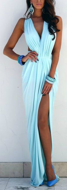ocean blue maxi dress with slit, oh i love