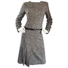 Oscar de la Renta 1990s Size 10 Black and White Tweed Long Sleeve Belted Dress  | From a collection of rare vintage day dresses at https://www.1stdibs.com/fashion/clothing/day-dresses/
